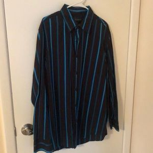 Men's INC black & blue striped dress shirt